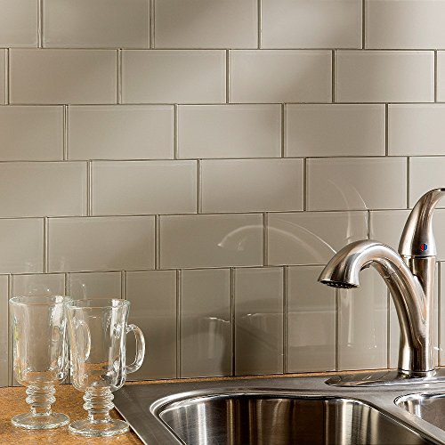 Peel and Stick Backsplash 3in x 6in Putty Glass Backsplash Tile for Kitchen and Bathrooms (8-pack)