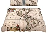 KESS InHouse BS1075ACD03 Bruce Stanfield ''Vintage Map Of The America's'' King Cotton Duvet Cover, 104'' x 88''