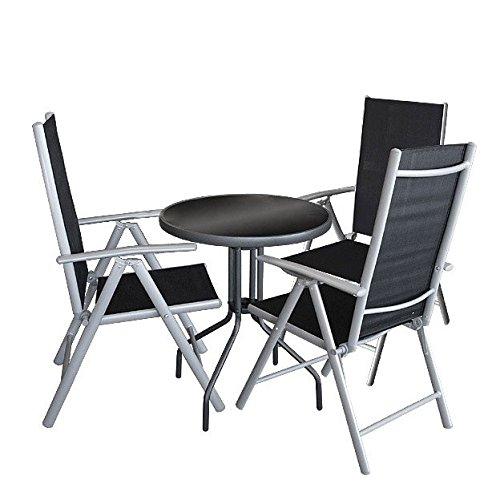 4tlg Bistrogarnitur Sitzgruppe ø60x71cm Glastisch 3x Hochlehner
