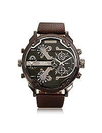 Famous Designer Mens Watches Dual Time Zone Quartz-Watch Oulm Leather Strap Big Face Military Quartz Clock Relogio Masculino