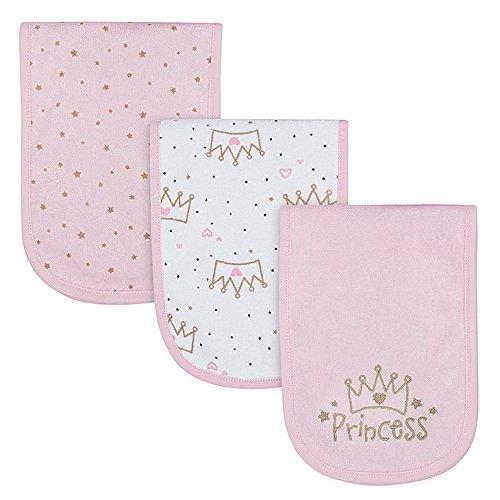 (Gerber Baby Girls' 3-Pack Terry Burp Cloth, Princess Crown, 18