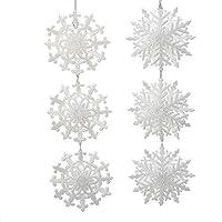 Kurt Adler 9.5-Inch Acrylic White Snowflake Cluster Ornament Set of 2