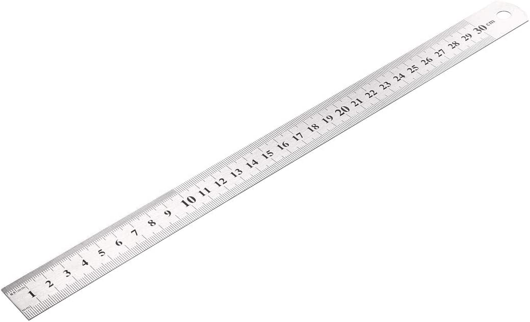 sourcing map 12 inch Steel Ruler Drawing Metal Measuring in Inches and Centimeters