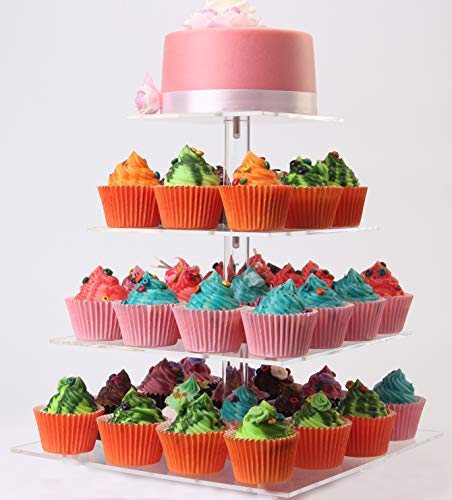 LoveDisplay 4 Tiers Maypole Square Acrylic Cupcake Stand, Wedding Party Clear Dessert Stand
