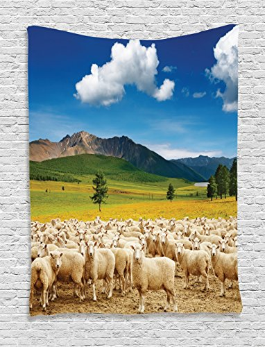 Sheep Tapestry - Ambesonne Farmhouse Decor Collection, Mountain Landscape with Sheep and Blue Sky Distant Hills Lake Trees Grassland Image, Bedroom Living Room Dorm Wall Hanging Tapestry, Ivory Blue