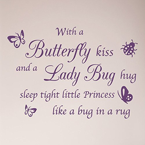 "32""x24"" with a Butterfly Kiss and A Lady Bug Hug Sleep Tight Little Princess Like a Bug in a Rug Nursery Wall Decal Sticker Art Mural Home Décor Baby Shower Crib Girl"