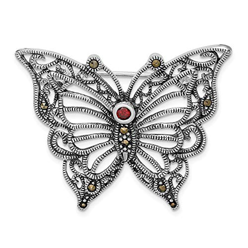 925 Sterling Silver Marcasite Red Cubic Zirconia Cz Butterfly Pin Fine Jewelry Gifts For Women For Her ()