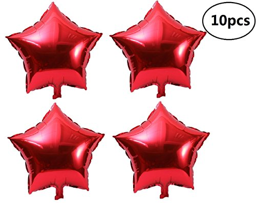 (EBTOYS Foil Mylar Helium Balloon Five-Point Star Party Balloons for Halloween Wedding Birthday Party Decoration Pack of 10 ,18in)