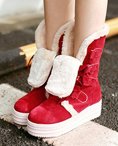 Sfnld Womens Warm Fur Lined Winter Shoes Snow Boots Red J8AtXJU