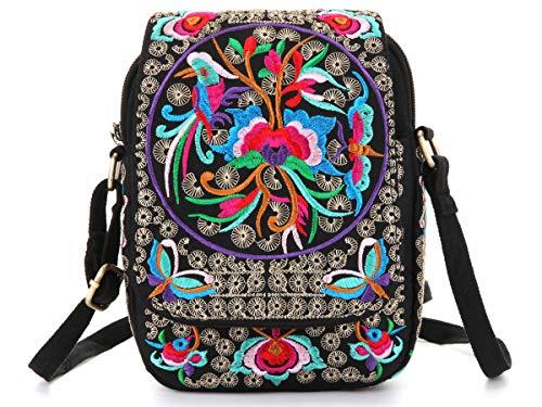 Mazexy Handmade Embroidered Shoulder Bag Cross-body Bag Vintage Ethnic Flower (Flower -