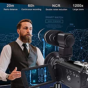Video Camera 4K Camcorder ZOHULU Vlog Camera for YouTube, HD Digital Camera with 30X Digital Zoom and Night Vision, Video Recorder with Microphone, Wide Lens (32GB SD Card, 2 Batteries Included)