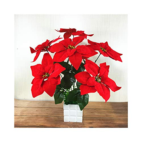 ZHOUMOJH 7 Forks Poinsettia Artificial Flowers Christmas Silk Flowers Christmas Potted Decorative Floral for Home Decoration Fake Flowers