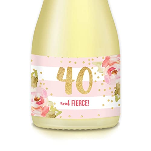 Womans 40th Fortieth Surprise Birthday Party Ideas Decorations Set Of 20 Mini Wine Or Champagne Bottle Labels Mom Wife Sister Lady Boss