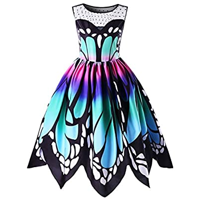 KuoShun Women Dresses Butterfly Print Party Plus Size Sleeveless Boat Neck Vintage Lace Stitching Swing Dress