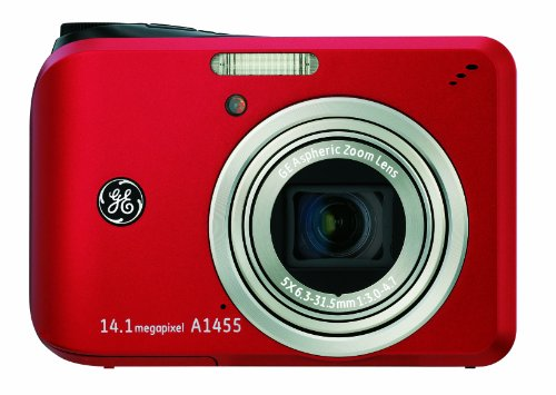 GE A1455 14MP Digital Camera with 5X Optical Zoom and 2.7-Inch LCD with Auto Brightness (Red), Best Gadgets