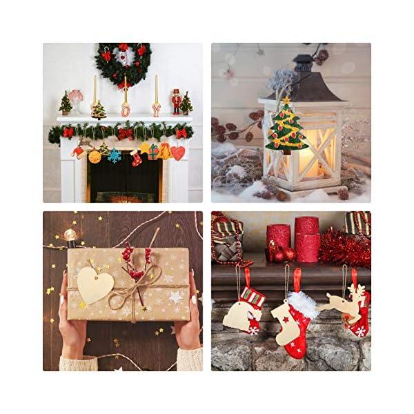 KATELUO 100 Pezzi Decorazioni Natalizie in Legno, Natale Ciondolo in Legno, Decorazioni Albero di Natale in Legno, Ornamenti Natalizi in Legno per Decorare Albero di Natale Fai da Te Etichette Regalo 6 spesavip