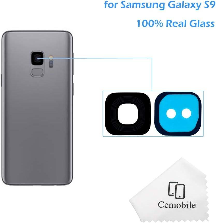 Cemobile Hinter Kamera Glas linse Abdeckung Kameraobjektiv mit Klebstoff F/ür Samsung Galaxy S9 G960F G960F//DS G960U G960W G9600