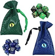 QIELIZI DND Dice Bag Pouch,PU Leather Dragon Dice Pouch Wih 7 Die Set Perfect for Dungeons and Dragons RPG D&a
