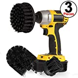 SIQUK 3 Pieces Scrub Brush Drill Attachment Kit - Black Ultra Stiff Bristle Power Scrubber Cleaning Brush for Heavy Duty Industrial Stripping and Harsh Scrubbing Applications on Concrete, Stone, Meta