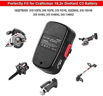 2Packs 19.2V 3.6Ah Replacement Battery for Craftsman DieHard C3 315.115410 315.11485 130235021 130235021