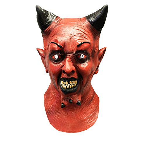 [Creepy Red Horned Devil Halloween Adult Costume Face Mask - Off the Wall Toys] (Halloween Costumes With Mask)