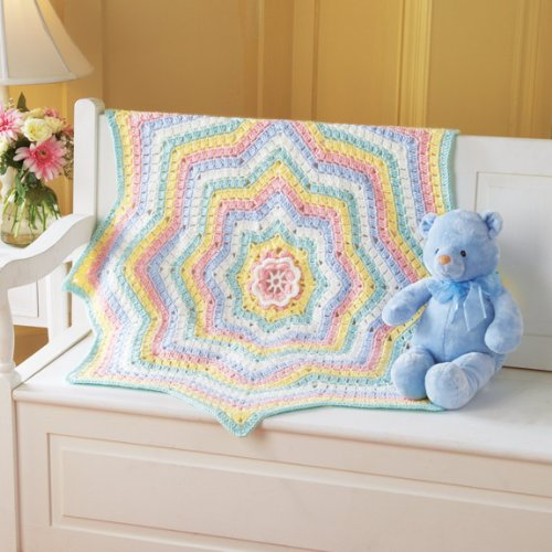 Rainbow Blossom Baby Blanket by Mary Maxim