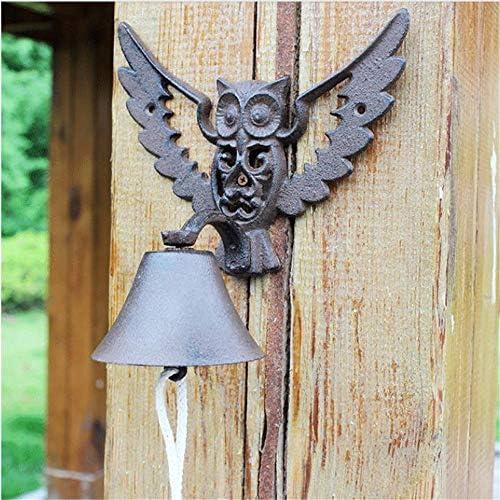 アイアンドアベル クラシックフクロウ鋳鉄ディナーベル素朴な金属製ウォールマウントのドアを呼び出しベルかわいい動物の風チャイムのハンギング 庭の家の壁の芸術の装飾 (色 : C1, Size : As shown)