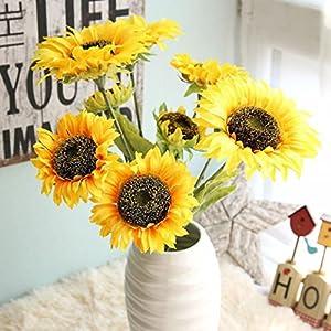 Vibola® Yellow Artificial Fake Flowers Silk Sunflower decorative flower 3 branch/bouquet Floral Wedding Bouquet Party Home Decor 40