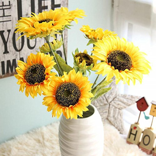 Vibola® Yellow Artificial Fake Flowers Silk Sunflower decorative flower 3 branch/bouquet Floral Wedding Bouquet Party Home (Fake Sunflowers In Bulk)