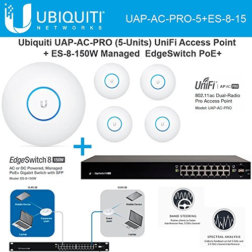 Ubiquiti UAP-AC-PRO-5 Pack UniFi Access Point + ES-8-150W EdgeSwitch 8 PoE+ by Ubiquiti Networks