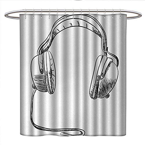 Anniutwo Music Shower Curtains Waterproof Sketch Style