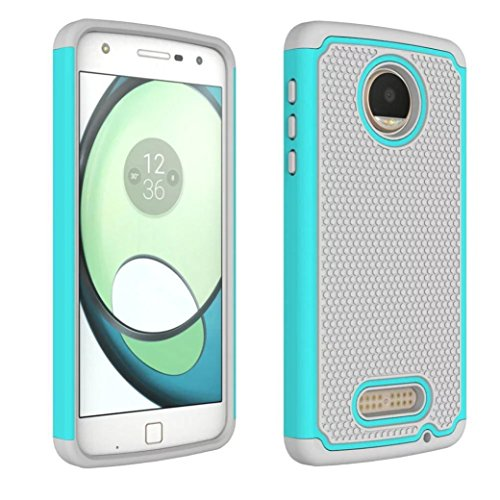 Price comparison product image for Motorola Moto Z Play, Soft Rubber Hybrid Dual Cover Shockproof Armor Case (Mint Green)