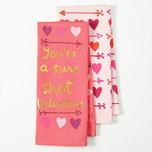 Youre-a-sure-shot-Valentine-Flour-Sack-Kitchen-Dish-Towel-2-Pack-with-Gold-Foil-Lettering