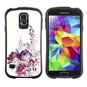 Paccase / Suave TPU GEL Caso Carcasa de Protección Funda para - Watercolor Rose Floral Spring - Samsung Galaxy S5 SM-G900