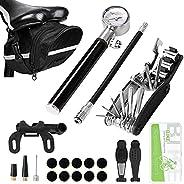 Odoland Bike Pump,Patch Tool, 210 PSI Bike Pump with Gauge, Fits Presta and Schrader Valve, Portable Bike tire