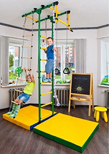 Comet-1: Kids Indoor Home Gym Swedish Wall+Rope Ladder+Rings+Trapeze