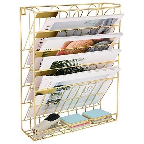 Hj European Simple Wrought Iron Bookshelf Desktop Books Magazine Storage Rack Creative Storage Rack Wrought Iron Folder Rack ++