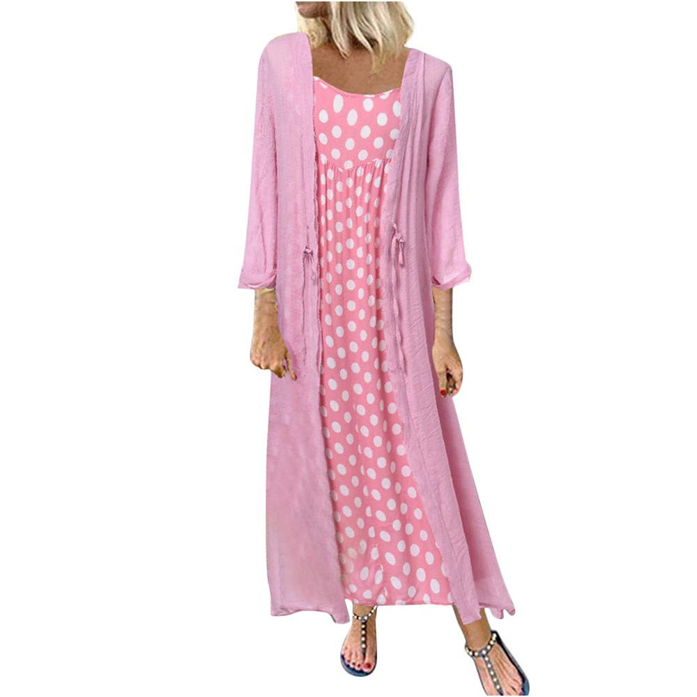 Women's Maxi Dresses Long Sleeve Polka Dot Printed Cotton Linen Casual Loose Cardigans 2-Pieces Long Dress Plus Size Pink