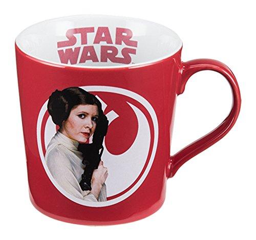 Vandor 99363 Star Wars Princess Leia 12 Ounce Ceramic Mug, Red/White