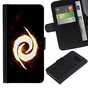 Billetera de Cuero Caso Titular de la tarjeta Carcasa Funda para Samsung Galaxy S6 SM-G920 / Fire Swirl / STRONG