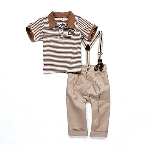 Boy Baby Striped Polo T-shirt Top Bib + Pants Suit Outfit Sets Overall 0-4y (90 (1-2 Years), Gray)