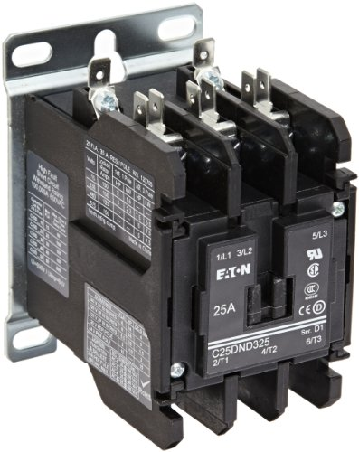 480vac Contactor Single Coil Pole (Eaton C25DND325T Definite Purpose Contactor, 50mm, 3 Poles, Screw/Pressure Plate, Quick Connect Side By Side Terminals, 25A Current Rating, 2 Max HP Single Phase at 115V, 7.5 Max HP Three Phase at 230V, 10 Max HP Three Phase at 480V, 24VAC Coil Voltage)