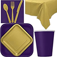 Disposable Party Supplies for 28 Guests - Deep Purple and Gold - Square Dinner Plates, Square Dessert Plates, Cups, Lunch Napkins, Cutlery, and Tablecloths: Premium Quality Tableware Set