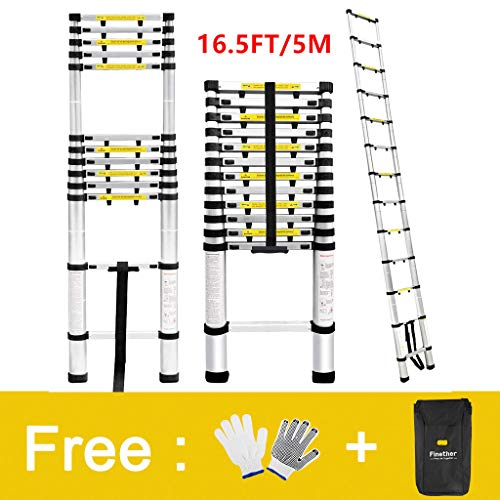 Finether Telescopic Extension Ladder|16.4ft Portable Aluminium Telescoping Ladder with Finger...