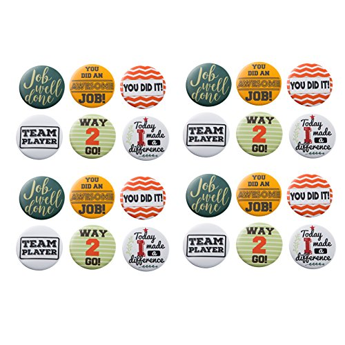 Pinback Buttons - 24-Pack Recognition Pins Round Buttons, Metal Pins for Gratitude and Appreciation, as Incentive, Motivation Awards for Kids, Employees, Students, Co-Workers ()