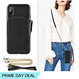 ZVE iPhone Xs Max Wallet Case iPhone Xs Max Case with Credit Card Holder Slot Crossbody Chain Handbag Purse Wrist Zipper Strap Case Cover for Apple iPhone Xs Max 6.5 inch - Black