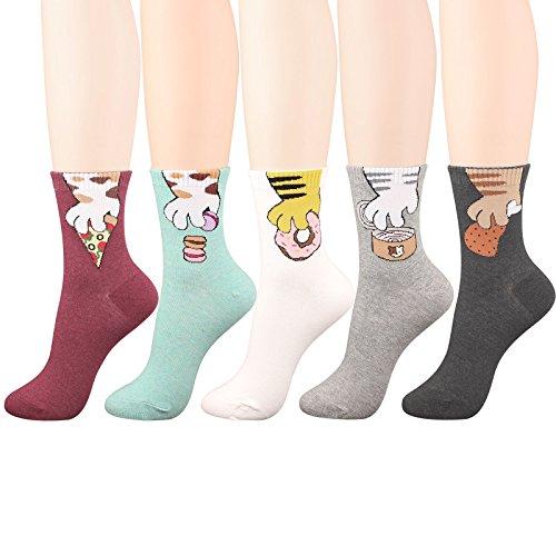 (WOWFOOT Animal Zoo Casual Cute Fun Cotton Print Ankle Socks Design (Cute Owl II - 4 pairs), One size)