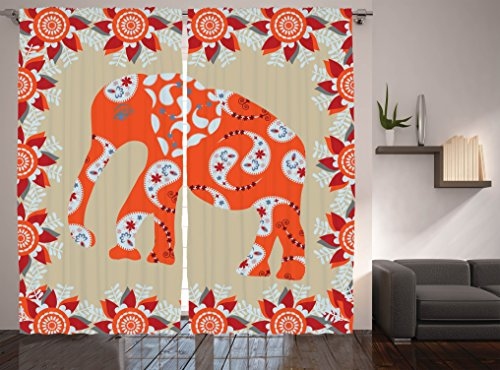 Traditional Asian Art Decor Curtains by Ambesonne, Elephant in Paisley Floral Drawing, Window Drapes 2 Panel Set for Living Room Bedroom, 108 W X 84 L Inches