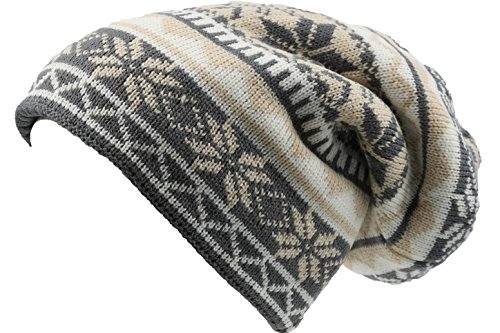 Sakkas 16143 - Chale Long Tall Classic Winter Pattern Faux Fur Lined Unisex Beanie Hat - Cream - OS