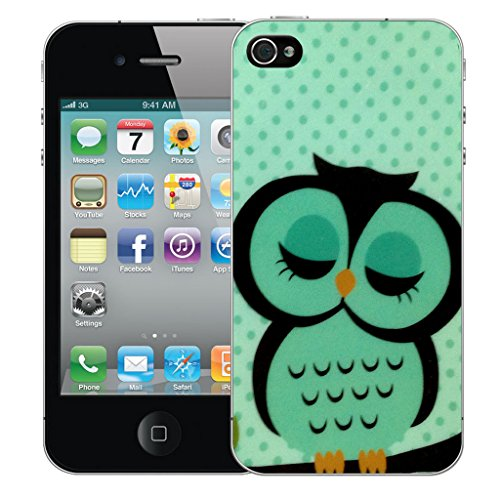 Mobile Case Mate iPhone 4 Silicone Coque couverture case cover Pare-chocs + STYLET - Sleepy Green Owl pattern (SILICON)